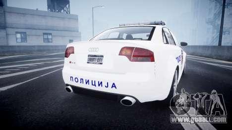 Audi RS4 Serbian Police [ELS] for GTA 4 back left view