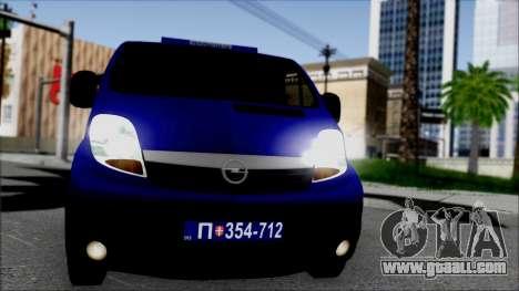 Opel Vivaro Policija for GTA San Andreas back view