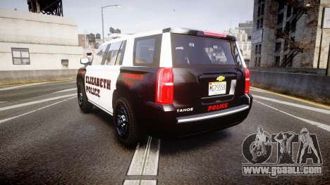 Chevrolet Tahoe 2015 Elizabeth Police [ELS] for GTA 4 back left view