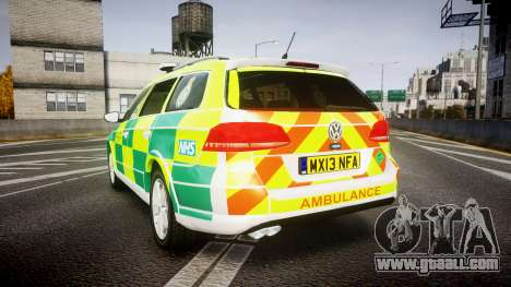 Volkswagen Passat B7 North West Ambulance [ELS] for GTA 4 back left view