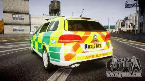 Volkswagen Passat B7 North West Ambulance [ELS] for GTA 4 back left view