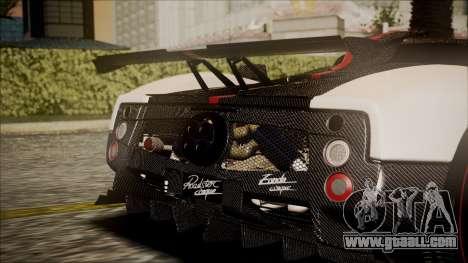 Pagani Zonda Cinque 2009 Autovista for GTA San Andreas back view