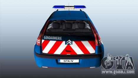 Citroen C4 Gendarmerie [ELS] for GTA 4 back left view