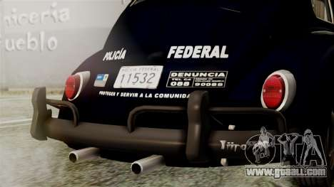 Volkswagen Beetle 1963 Policia Federal for GTA San Andreas inner view