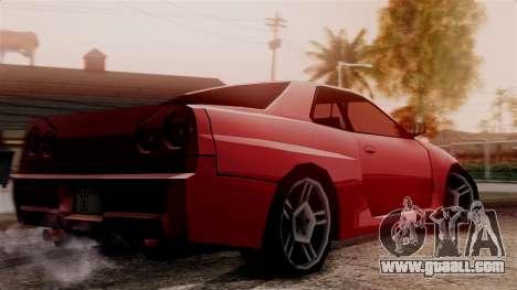 Nissan Skyline R34 SA Style for GTA San Andreas back left view