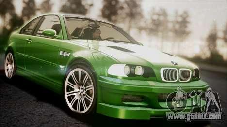 BMW M3 GTR Street Edition for GTA San Andreas bottom view