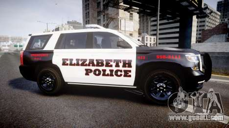 Chevrolet Tahoe 2015 Elizabeth Police [ELS] for GTA 4 left view