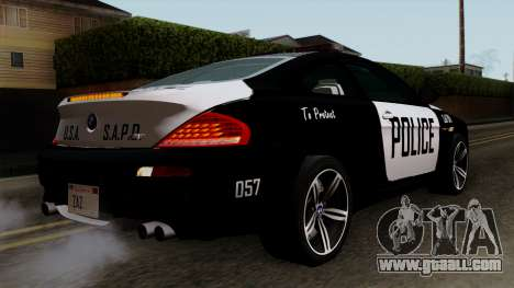 BMW M6 E63 Police Edition for GTA San Andreas left view