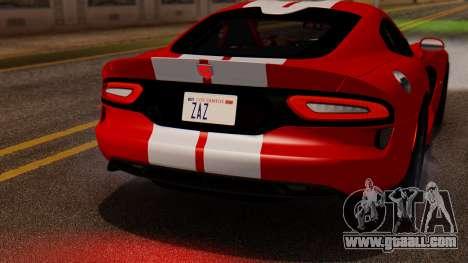 Dodge Viper SRT GTS 2013 IVF (MQ PJ) LQ Dirt for GTA San Andreas inner view