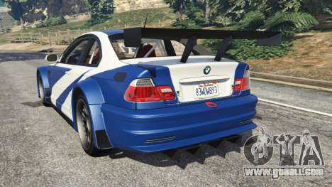 GTA 5 BMW M3 GTR E46 Most Wanted v1.2 rear left side view