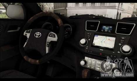 Toyota Highlander 2011 for GTA San Andreas interior