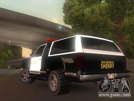 Yosemite Police 2015 for GTA San Andreas back left view