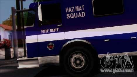 FDSA Hazardous Materials Squad Truck for GTA San Andreas back left view