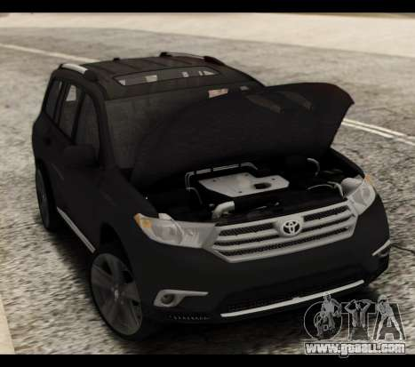 Toyota Highlander 2011 for GTA San Andreas upper view