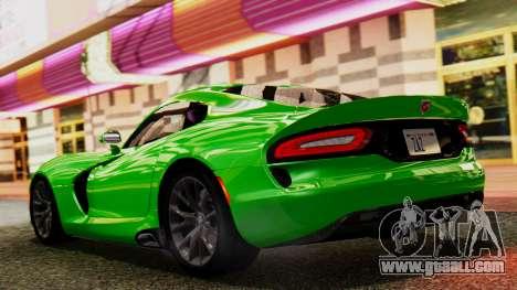 Dodge Viper SRT GTS 2013 IVF (MQ PJ) No Dirt for GTA San Andreas back left view