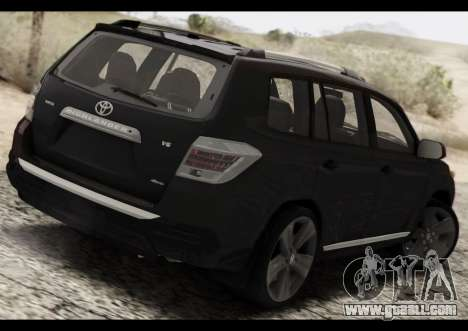 Toyota Highlander 2011 for GTA San Andreas back left view