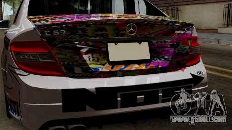 Mercedes-Benz C63 AMG Momoka and Nonoka Itasha for GTA San Andreas back view