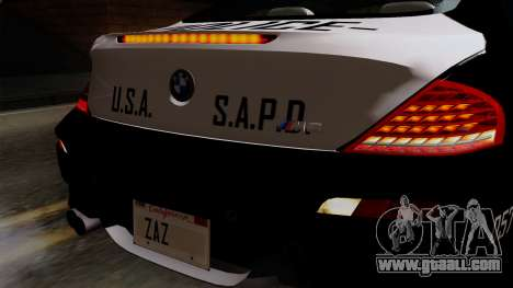 BMW M6 E63 Police Edition for GTA San Andreas back view