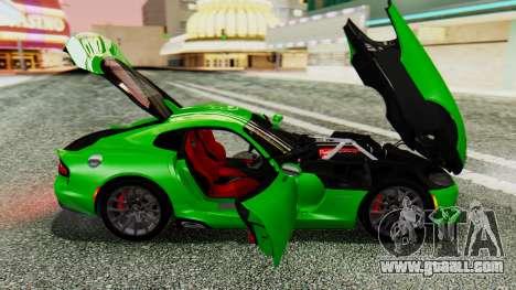 Dodge Viper SRT GTS 2013 IVF (MQ PJ) No Dirt for GTA San Andreas back view