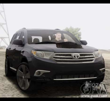 Toyota Highlander 2011 for GTA San Andreas back view