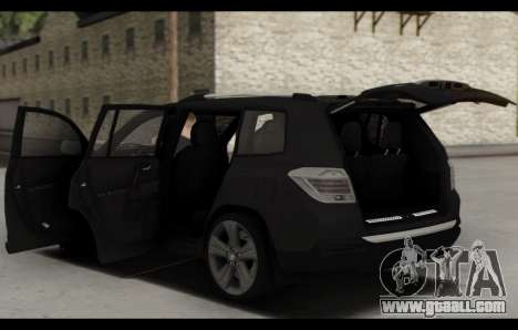 Toyota Highlander 2011 for GTA San Andreas bottom view