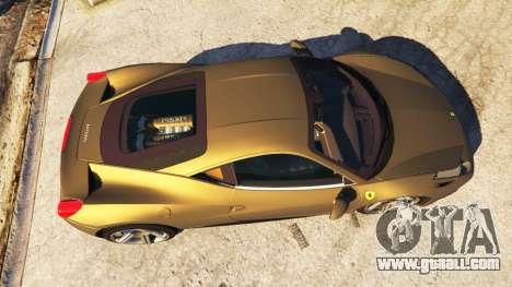 GTA 5 Ferrari 458 Italia v0.9.3 back view