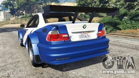 GTA 5 BMW M3 GTR E46 Most Wanted rear left side view