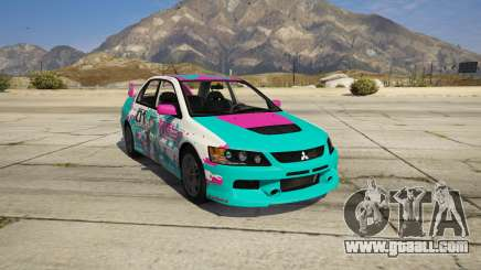 Mitsubishi Lancer EVO Miku Paintjob for GTA 5