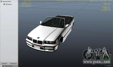 GTA 5 BMW M3 E36 Cabriolet 1997 wheel