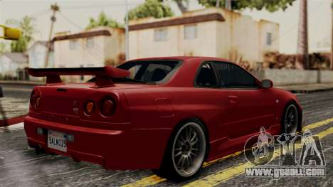 Nissan Skyline GT-R R34 2012 for GTA San Andreas back left view