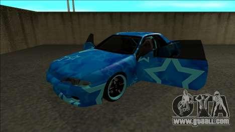 Nissan Skyline R32 Drift Blue Star for GTA San Andreas back view