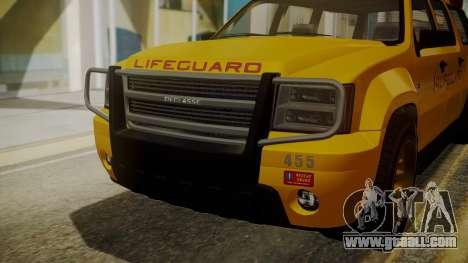 GTA 5 Declasse Granger Lifeguard IVF for GTA San Andreas back view