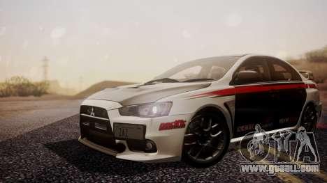 Mitsubishi Lancer Evolution X 2015 Final Edition for GTA San Andreas back view