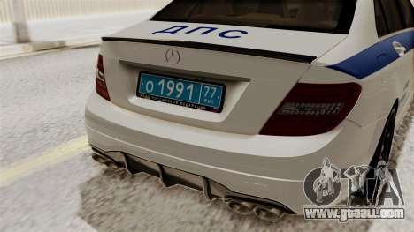 Mercedes-Benz C63 AMG STSI the Ministry of inter for GTA San Andreas back view