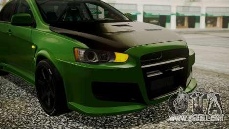 Mitsubishi Lancer Evolution X WBK for GTA San Andreas inner view