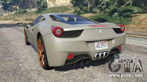 GTA 5 Ferrari 458 Italia 2009 v1.4 rear left side view