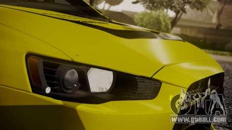 Mitsubishi Lancer Evolution X 2015 Final Edition for GTA San Andreas bottom view