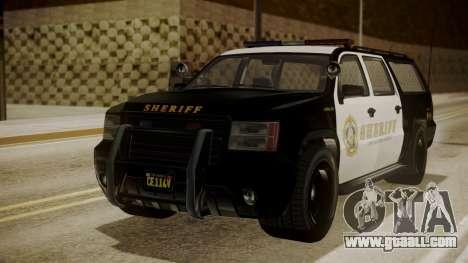 GTA 5 Declasse Granger Sheriff SUV for GTA San Andreas back left view