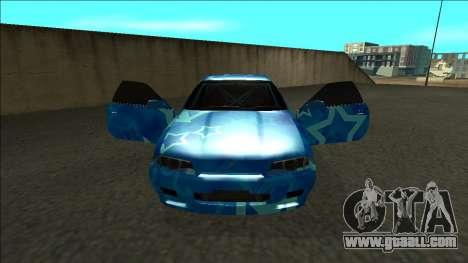 Nissan Skyline R32 Drift Blue Star for GTA San Andreas inner view