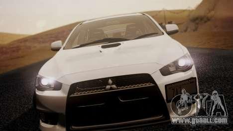 Mitsubishi Lancer Evolution X 2015 Final Edition for GTA San Andreas back left view