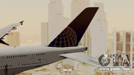 Airbus A380-800 United Airlines for GTA San Andreas back left view