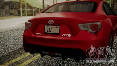 Toyota GT86 2012 LQ for GTA San Andreas back view