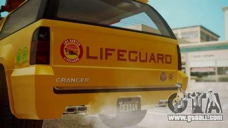 GTA 5 Declasse Granger Lifeguard for GTA San Andreas back view