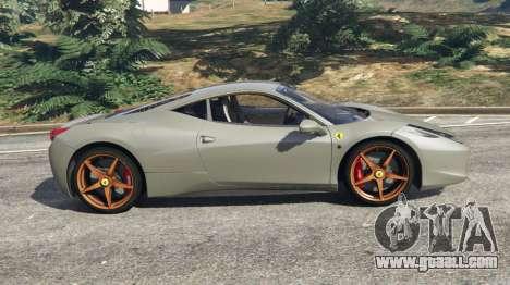 GTA 5 Ferrari 458 Italia 2009 v1.4 left side view