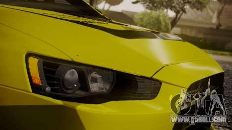 Mitsubishi Lancer Evolution X 2015 Final Edition for GTA San Andreas upper view