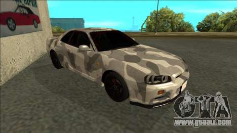 Nissan Skyline R34 Army Drift for GTA San Andreas right view