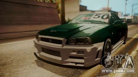 Nissan Skyline R34 FnF 4 v1.1 for GTA San Andreas bottom view
