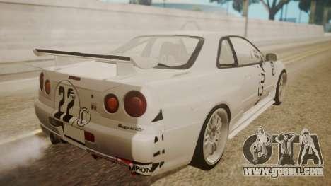 Nissan Skyline R34 FnF 4 v1.1 for GTA San Andreas interior