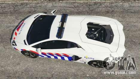 GTA 5 Lamborghini Aventador LP700-4 Dutch Police v5.5 back view