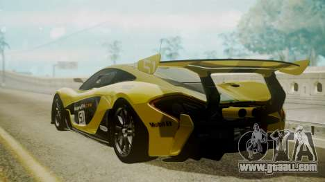 McLaren P1 GTR 2015 Yellow-Green Livery for GTA San Andreas left view